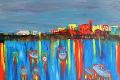 PAUL WESTAWAY, Edge of the Harbour, Penzance, WEST CORNWALL, ACRYLIC Painting ON BOARD Frame size C via Art From Cornwall. Click on the image to see more!