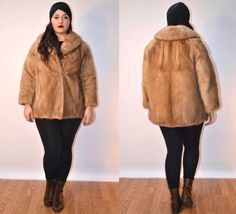 1950s vtg sz medium brown mink fur coat // USA MADE stroller coat // FauxyFurr Vintage