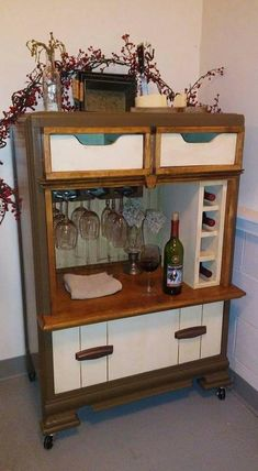 Wine bar's makes for a great wine rack, and a place for your wine glasses, and your favorite wine storage. This rustic wine bar is great Vintage Dressers, Old Dressers, Furniture Makeover, Diy Furniture, Chair Makeover, Furniture Refinishing, Furniture Design, Thrift Store Crafts, Repurposed Furniture
