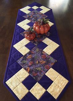 Purple Fall Table Runner by QuiltedGiftsbyVicki on Etsy