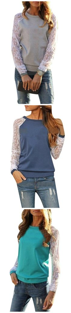 Show off your love for lace with this cute yet stylish casual lace detailing blouse.