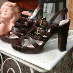 "COACH  Sandal Heels.       (LOWEST-PRICE ) Authentic,.  Brown leather,  Leather lining and sole. Padded for confort.  Gold hardware.  Heels 4-1/2 inch and Platform 1"" inch.  REASONABLE OFFERS WELCOME Coach Shoes Heels"