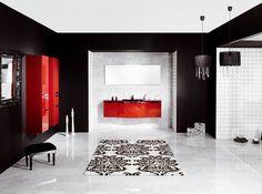 Bathroom, Best 11 Luxury Modern Bathroom Designs from Schmidt: Luxury Modern Style Bathroom Design In Black White And Red Accents Small Bathroom Interior, White Bathroom Decor, Bathroom Red, Bathroom Ideas, Master Bathroom, Gothic Bathroom, Bathroom Images, Bathroom Furniture, Bathroom Inspiration