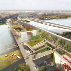 Rem Koolhaas' firm OMA has teamed up with Olin to create the 11th Street Bridge Park – a raised garden spanning Washington DC's Anacostia River.