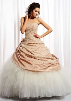 Ball Gown Strapless Floor-length in Taffeta Tulle Quinceanera Dress