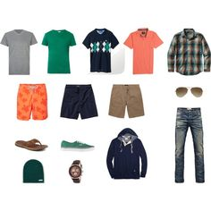 """""""15-Piece Men's Casual Travel Wardrobe"""" by angelarcher5 on Polyvore"""