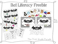 Bat themed literacy freebie.  Practice beginning and ending sounds, and rhyming