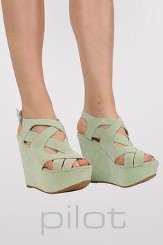 Multi Cross Strap Shoe Wedges in Mint Green
