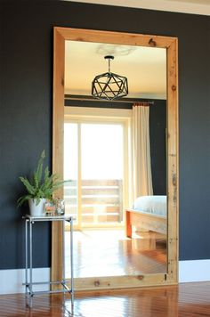 Diy floor length mirror frame tutorial mirrors and frames diy leaning framed floor mirror solutioingenieria Images