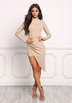 Taupe Asymmetrical Surplice Slit Bodycon Dress - Dresses