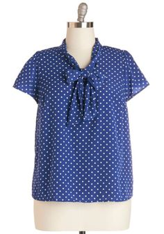 Tie for First Top in Dotted Navy
