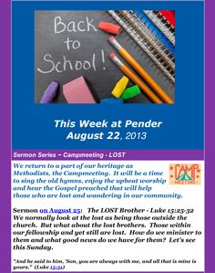 Did you miss your copy of This Week at Pender or want to read it online? Read it here: http://www.penderumc.org/newsletter