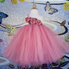 Custom Made to Order Dusty Rose and Ivory Flower Girl Dress- Tutu Dress- Birthday Tutu Dress- Rose Flower girl dress-Pink Tutu Dress. Girls Tulle Skirt, Tulle Skirt Dress, Pink Tutu Dress, Ivory Flower Girl Dresses, Flower Girl Tutu, Baby Dress, Tutu Dresses, Little Girl Princess Dresses, Little Girl Tutu