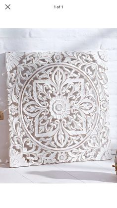 Thai wood carving white wall decor