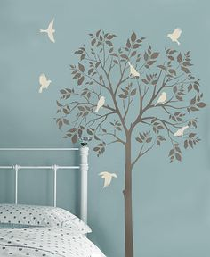 Large Tree and Birds Stencils  Reusable by CuttingEdgeStencils, $99.95