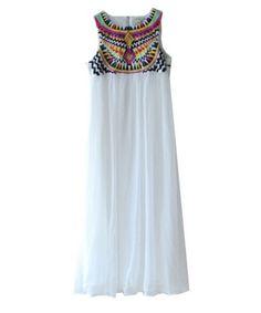 White Sleeveless Embroidery Pleated Chiffon Dress $39.99 http://copious.com/listings/white-sleeveless-embroidery-pleated-chiffon-dress