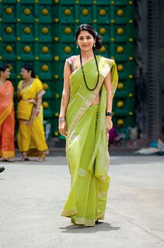Crisp green cotton saree