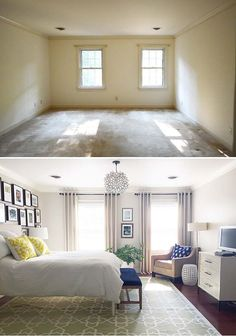 Inspiring before and after from Young House Love — a beige box becomes a lovely bedroom. Inspiring before and after from Young House Love — a beige box becomes a lovely bedroom. Small Master Bedroom, Master Bedroom Makeover, Home Bedroom, Bedroom Makeover Before And After, Bedroom Makeovers, Modern Bedroom, Master Bedroom Decorating Ideas, Bedroom Ideas Master On A Budget, Bedroom Furniture