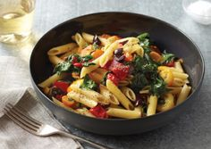 Spinach Peppers and Cherry Tomatoes with Penne Rigate | Vegetarian Times