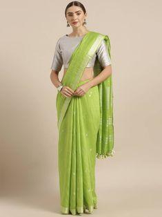 Green Colour Linen Saree with Blouse Saree Dress, Saree Styles, Saree Blouse Designs, Indian Designer Wear, Saree Collection, Saree Wedding, Indian Sarees, Sarees Online, Indian Dresses