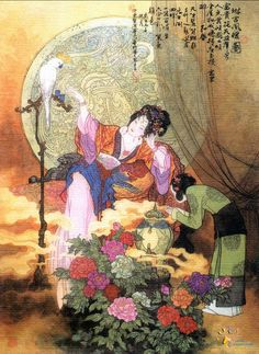 Illustration by Hua San Chan (1930 - 2004). His paintings  illustrate Chinese fairy tales, legends, poetry and historical figures.