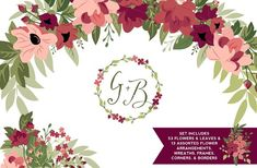 Blush & Burgundy Flowers & Greenery by Kelly Jane Creative on @creativemarket