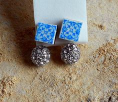 Portugal  Antique Blue Tile Replica FRONT BACK Earrings by Atrio