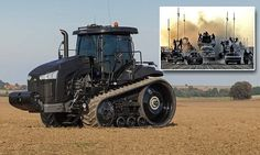 A tractor fit for Mad Max: Rugged machine carves up 150 acres of land in a day and can plough round the clock | The US-made tractor is guided by GPS  and steers with an accuracy over the ground of less than an inch, meaning there is no overlapping and it can be driven in perfectly straight lines. [The Future of Agriculture: http://futuristicnews.com/tag/agriculture/ Futuristic Vehicles: http://futuristicnews.com/category/future-transportation/]