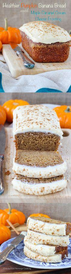 Healthier Pumpkin Banana Bread {Maple Caramel Icing} - American Heritage Cooking #pumpkin #desserts #recipe Healthy Desserts, No Bake Desserts, Delicious Desserts, Yummy Food, Dessert Recipes, Pumpkin Banana Bread, Pumpkin Loaf, Pumpkin Recipes, Cooking Pumpkin