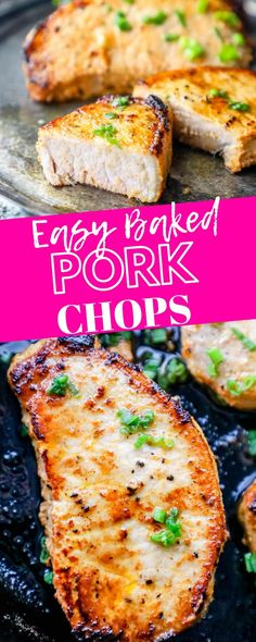 Easy Baked Pork Chops Recipe – the best easy baked pork chops ever in under 20 minutes with simple ingredients! Your family will beg for these pork ch. Best Baked Pork Chops, Healthy Pork Chops, Oven Pork Chops, Marinated Pork Chops, Sides For Pork Chops, Pork Roast, Easy Pork Chop Recipes, Pork Recipes, Foods