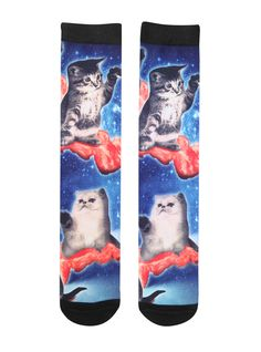 <p>A pair of black socks from RUDE with an allover bacon cats sublimation print design.</p>  <ul> 	<li>98% polyester; 2% spandex </li> 	<li>Wash cold; dry low </li> 	<li>Imported </li> 	<li>Listed in men's sizes </li> </ul>