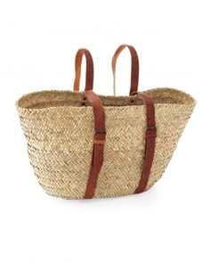 Market Backpack  This roomy straw basket fits comfortably on your back for bike rides to the beach.     $65, brookfarmgeneralstore.com.
