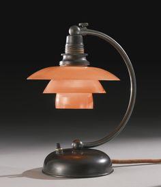 Art Deco Patinated Bronze and Bakelite Bedside Lamp by Poul Henningsen, Denmark Art Deco Lighting, Vintage Lighting, Lighting Design, Art Deco Design, Lamp Design, Danish Design, Modern Design, Ph Lamp, Lamp Light
