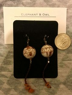 Coconut Groove Seed Beads, Upcycle, Elephant, Owl, Coconut, Drop Earrings, 21 Days, Porcelain, Gifts