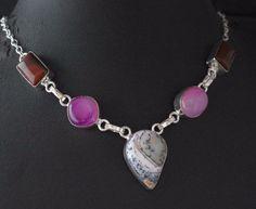 Dendrite Opal-Botswana Lace Agate 925 Silver Plated Fashion Jewelry Necklace E66 #valueforbucks #Bib