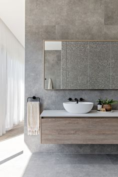 Spa Bathroom Design, Grey Bathroom Tiles, Concrete Bathroom, Bathroom Trends, Bathroom Layout, Bathroom Styling, Bathroom Renovations, Grey Tiles, Modern Bathroom Vanities