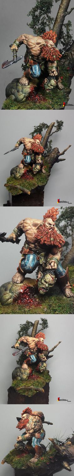 Troll Slayer - Another Humanoid Miniature, however this one is unarmored and armed with only an Ax and brute strength, showing that even with the same classes/styles of miniature, there can still be big differences.
