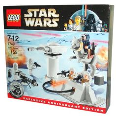 Lego Star Wars Series Exclusive Anniversary Edition Battle Scene Set  7749  ECHO BASE with 5 Minifigures 2 Snow Troopers with EWeb Blaster 2 Rebel Troopers and Han Solo in Hoth Winter Gear and AntiInfantry Laser Battery with Opening Turret Door and Flick Fire Fissiles Plus First Time Ever Lego Tauntaun Figure Total Pieces 155 -- For more information, visit image link.