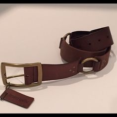 "New Linea Pelle Brown Leather Belt sz S. On Sale New linea pelle brown leather belt with bronze hardware. Five notches for adjustable length. Three bronze circles. 1 3/4"" Wide. Great looking belt, size S fits 34""❗️❗️❗️On SALE Linea Pelle Accessories Belts"