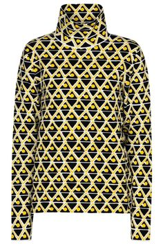 The next stage of the Moncler Genius collaboration focuses on Sandro Mandrino's designs for 3 MONCLER GRENOBLE – designs like this ski top. Made from thermal knit in a yellow geometric jacquard, this style is insulating as well as stretchy. Create a coordinated base layer by wearing yours with the matching leggings. #mytheresa #monclergenius #monclergrenoble #monclerskitop #skitop #monclerskioutfit #designskioutfit Moncler, Sandro, Skiing, Luxury Fashion, Turtle Neck, Yellow, Stylish, How To Wear, Collaboration