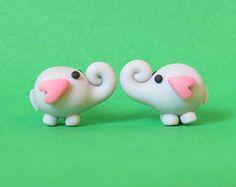 Süsse Elefanten Ohrringe - Handgemacht aus Fimo in grau und rosa