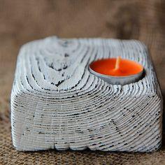 купить деревянный подсвечник ручной работы шебби шик белый