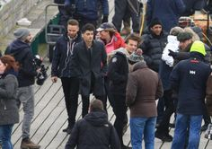 One Direction filming on Clevedon Pier, North Somerset. Liam Payne, Zayn Malik and Louis Tomlinson.24 March 2014. Photo: SWNS.com