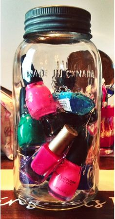 Put your nailpolish in an mason jar for easy storage!