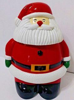 "Vintage Plastic Santa Cookie Jar -Says ""Ho, Ho, Ho, Merry Christmas"" When Opened"