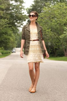 What I Wore: Opposites Attract, Jessica Quirk, How to Wear Army Green and Lace, whatiwore.tumblr.com