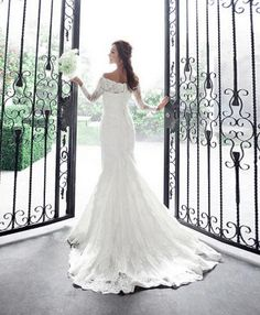 Long-Sleeved Wedding Dress for November Wedding... Luxury lace off-shoulder fish tail train long-sleeve wedding dress on Etsy, $179.90