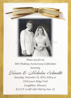 This elegant gold anniversary invitation is three parts: a semi-transparent top sheet that is personalized with your photo and invitation text, a...