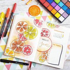 ��� Hello June  Avec un peu de retard voici la page mensuelle de mon Bullet Journal ! Plein de couleurs et de vitamines pour ce mois de juin