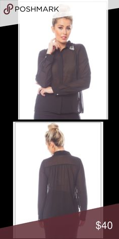Button down chiffon blouse Black chiffon button down blouse. Has contrast details on the collar. Made of 100% Polyester Tops Button Down Shirts